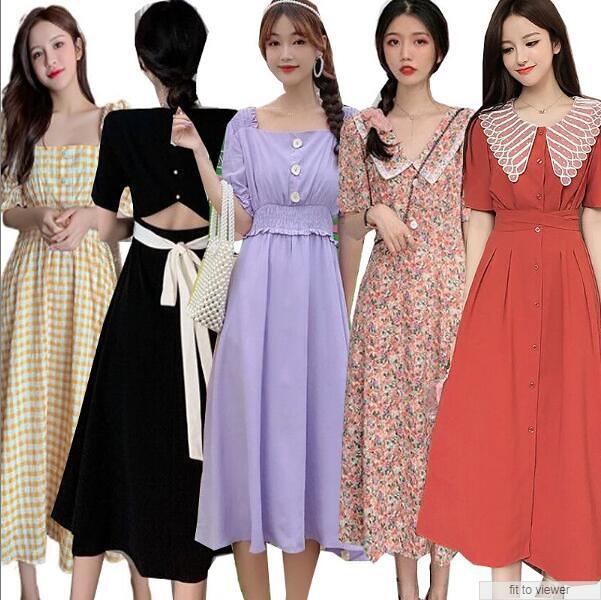 2020夏ワンピース 韓国ファッション/ドレス 花柄ワンピース/最安挑ワンピース女性大人気レデイースファッション幅広くしっかり体型カバー オーバーオールワンピース