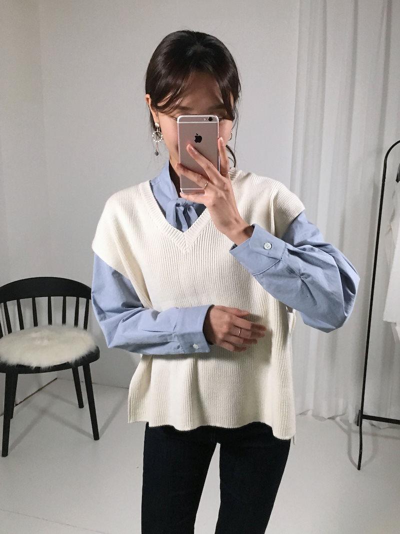 ジュディパクピットサイドリングニットベストkorea fashion style