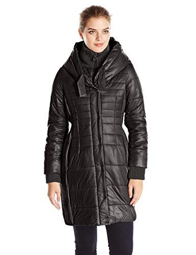 T Tahari Womens Paulette Packable Down Jacket with Hood, Black, Medium
