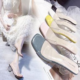大人気 クリアミュールサンダル レディース 春夏  スクエアトゥ チャンキーヒール 太ヒール ストラップ 歩きやすい 履きやすい 美脚