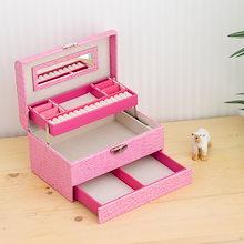 クロコジュエリーボックス(宝石箱)/ミニドレッサー 引き出し収納付き ピンク