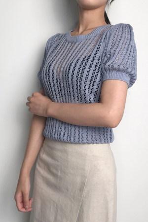 フェミニンのSCSIサマーニットトップkorea fashion style