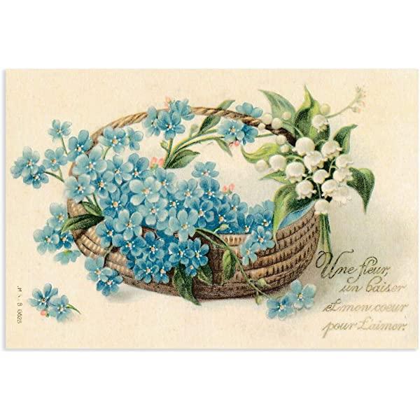 グランシュマン ポストカード ボタニカル (バスケットに入った青い花とスズラン) 20069008E