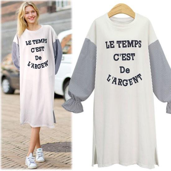 ペションプルDRS16928パフ小売レタリングロングワンピース 綿ワンピース/ 韓国ファッション