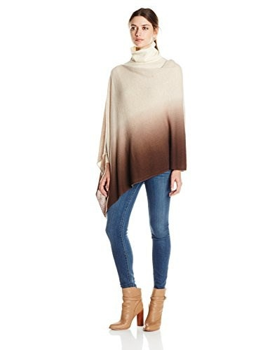 Minnie Rose Womens Cashmere Dip Dye Ruana, Taupe Heather/Cigar, One Size