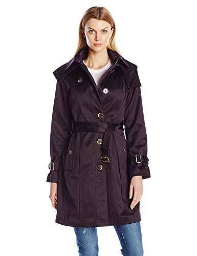 London Fog Womens Heritage Belted Single Breasted Trench with Shoulder Flaps, Blackberry, Large