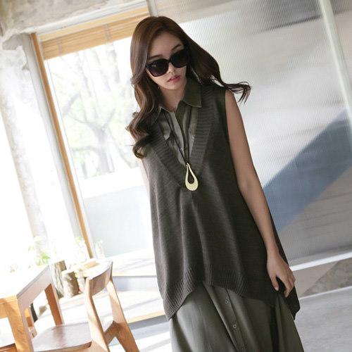 [zoozoom] V-neck unbalance knit vest 5color / 22052