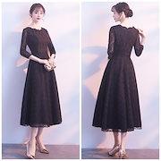 7702f43885925 Qoo10  ドレス パーティドレス シースルー 刺繍...   レディース服