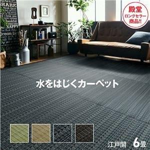 洗える PPカーペット アウトドア ペット ブラウン 江戸間6畳(約261×352cm)