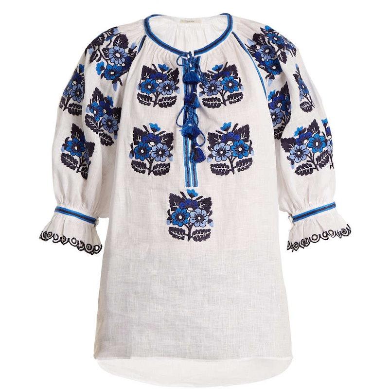 ヴィタキン レディース トップス ブラウス・シャツ【Bulgaria floral-embroidered linen blouse】White