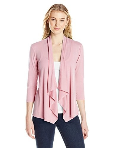 Notations Womens 3/4 Sleeve Solid Cozy Cardigan with Lace At Back, Fezzik Pink, Small