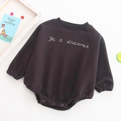 259c57b905ea5 韓国の冬の赤ちゃんルーズロンパース、セーター、男性と女性の赤ちゃんの綿プラスベルベットクライミングロンパース、ベビー服、ハ・イー