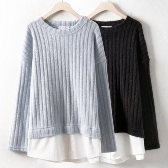 ウィスィモールSSシャツ配色ニットティーY712M2col66110size ニット/セーター/ニット/韓国ファッション