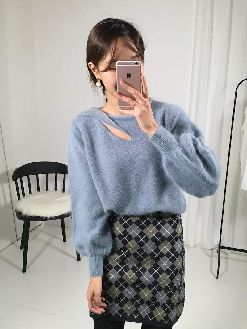 修善寺デートねじれカットアンゴラニットkorea fashion style