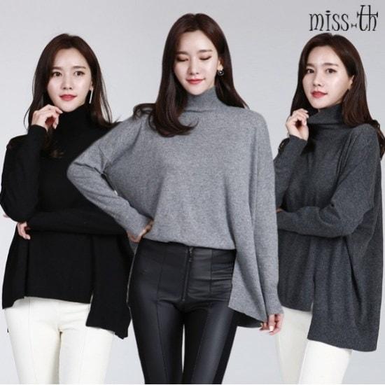 ミスティーに一アンバランスポーラ・ニット ニット/セーター/タートルネック/ポーラーニット/韓国ファッション