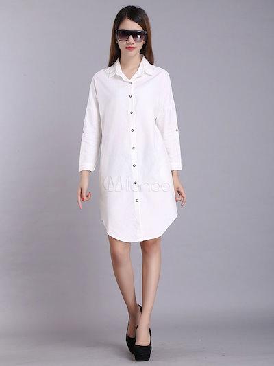 White Cotton Shirt Dress For Women