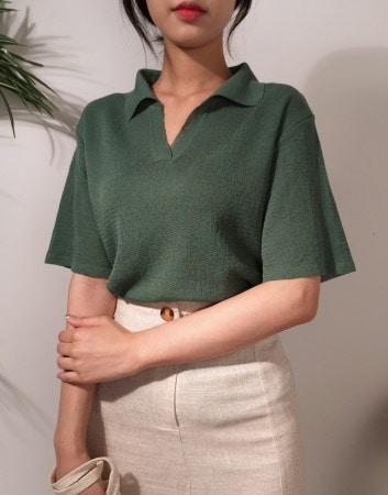 ウェルナチュラルサマーカラーニットトップkorea fashion style