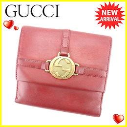 b9da375b3695 グッチ Gucci Wホック財布 二つ折り 財布 レディース メンズ 可 インターロッキング レッド レザー 人気