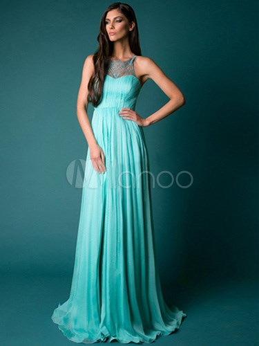 Jewel Neck Lace High Split Prom Dress