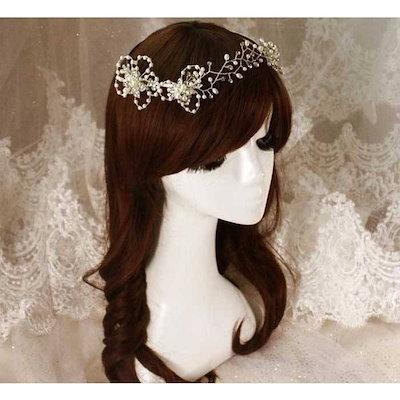 Wedding headdress 姫 花嫁 ウェディング小物 ヘアアクセサリー 頭飾り 結婚式 髪飾り 撮影 ヘッドドレス WTHTX01
