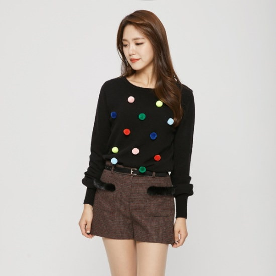 のエゴイストカラフルポムポム装飾ニットEH4KL160 ニット/セーター/韓国ファッション