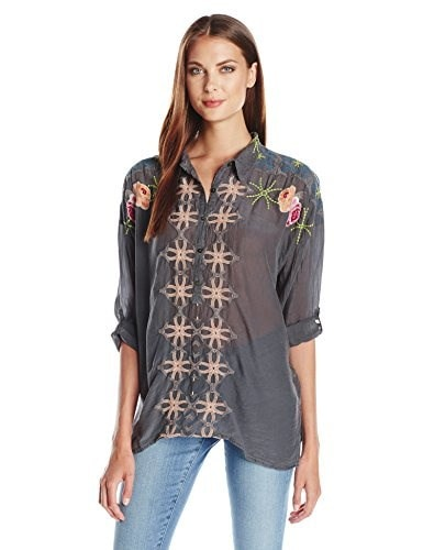 Johnny Was Womens Oversized Collared Blouse, Iron Steel, X-Large