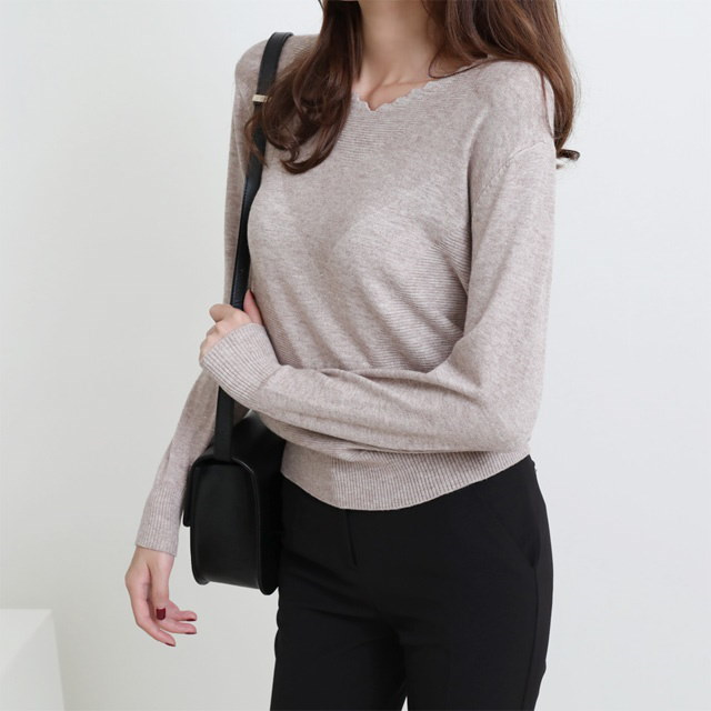[Dimming] Wavy Neck V-neck knit 5 color