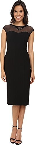 Maggy London Womens Techno Crepe Illusion Sheath with Embellished Yoke, Black, 10