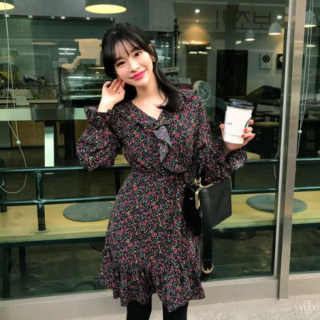 【Imvely]ベリーフラワーラップワンピースkorean fashion style