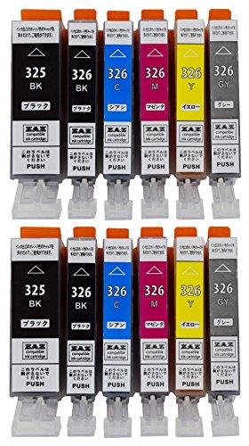 ZAZ BCI-326+325/6MP 6色セット×2パック(計12個入り) canon 互換インク ICチップ付き 残量表示可 対応機種:PIXUS MG8130 MG6130 MG5230