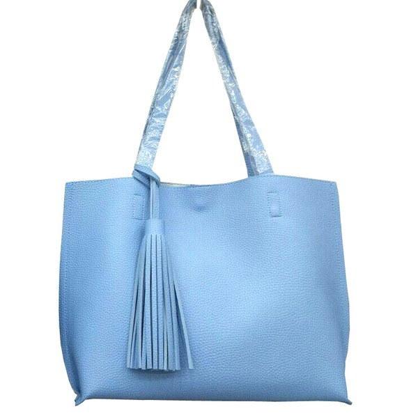 くったり柔らかい♪ビジネスにも普段使いにも使える持ち手長めのトートバッグ/ブルー