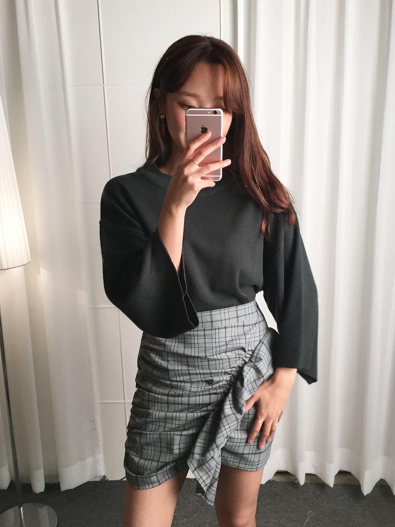 コーナーラウンドルーズフィットニットkorea fashion style