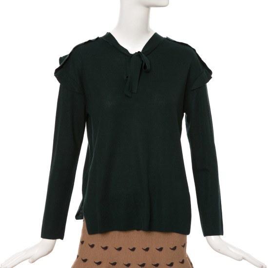 ケネス・レディー肩フリルオーバーEKPOGJ07 ロングニット/ルーズフィット/セーター/韓国ファッション