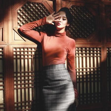 [ディントゥ] E-4216テンセルミニマルポーラトップkorea fashion style