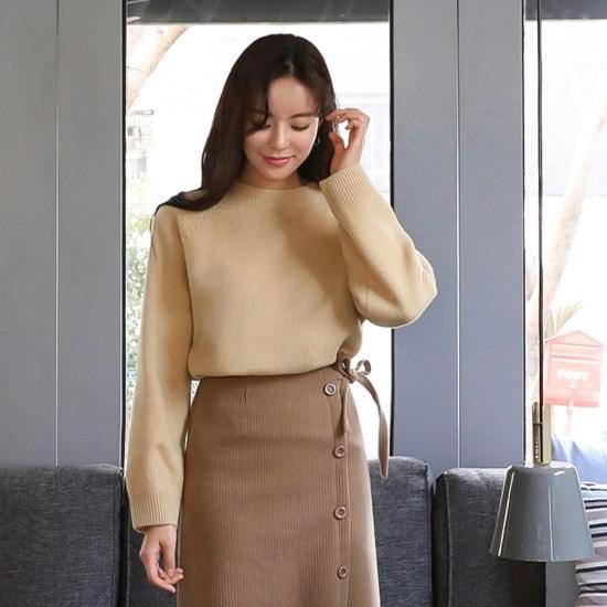 【チェリーココ] triene、knit(C712PRKN247)/ウールニット/ナグラン/ベーシック/イエロー(F1 / ニット/セーター/ニット/韓国ファッション