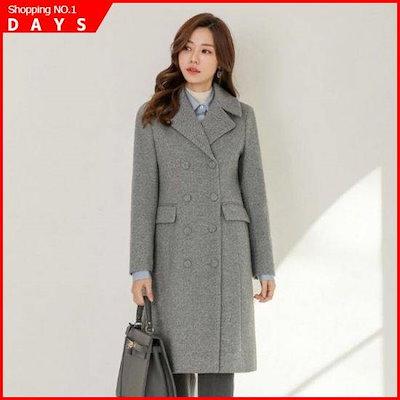 [スタイルオンミ][行き来するように/スタイルオンミ]ウルブルレンディンヘリンボーンダブルボタンコート /ロングコート/コート/韓国ファッション