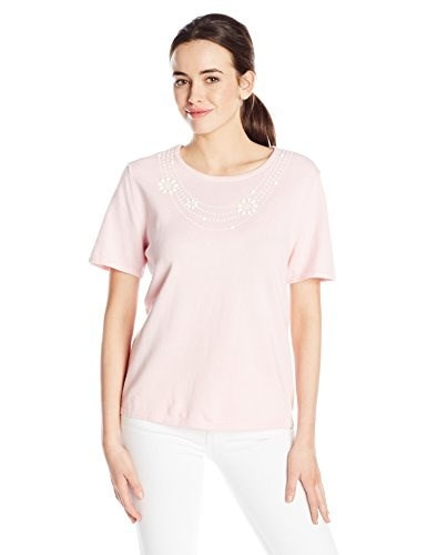Alfred Dunner Womens Necklace Sweater, Pink, Large