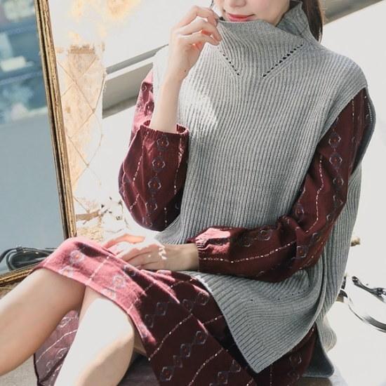 ロロテンラティタートルネックチョッキ ベセチュウ / ニット・ベスト/ 韓国ファッション