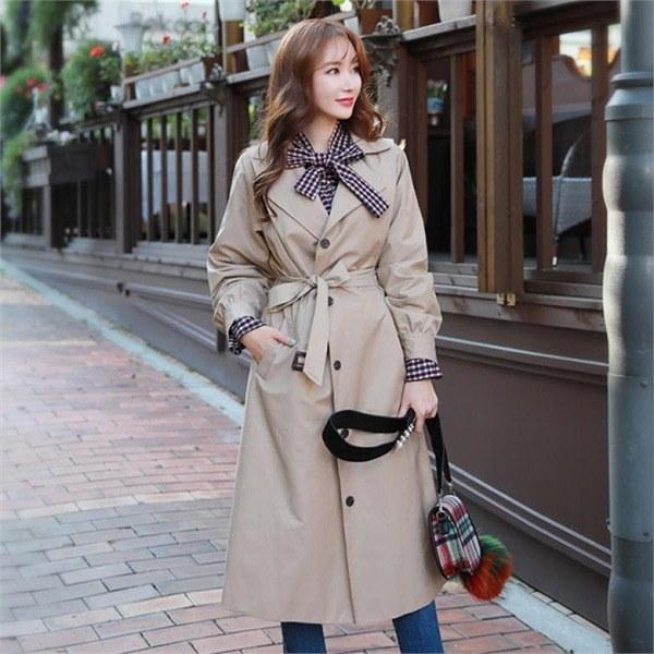 スタイルオンミサイドピンタック・ロングトレンチコート 女性のコート/ 韓国ファッション/ジャケット/秋冬/レディース/ハーフ/ロング/
