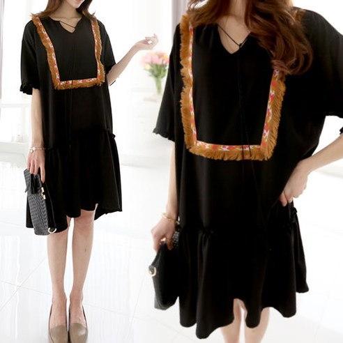 Mayissa Tassle Frill OPS Long Dress (below calf) korean fashion style