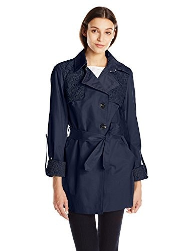 Sam Edelman Womens Trench with Lace Details, Navy, Large