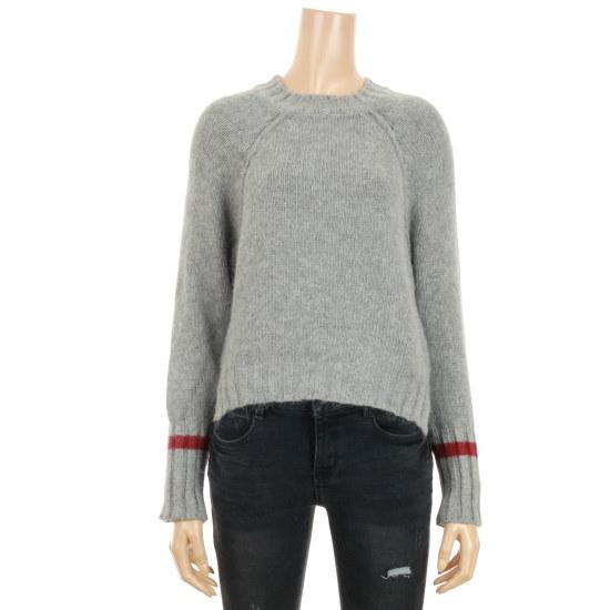 ステパネルアンゴラ袖ライン配色レグルロンニートSF6XKP143 ニット/セーター/韓国ファッション