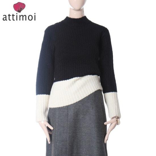 アティムア小売配色反目厚めニットATA740005 ニット/セーター/タートルネック/ポーラーニット/韓国ファッション