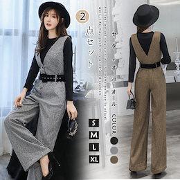 秋冬 Tシャツ セレブセット韓国ファッション/セットアップ/レディース/ワイドパンツ/大きいサイズ/ 2点上下 セットXA386