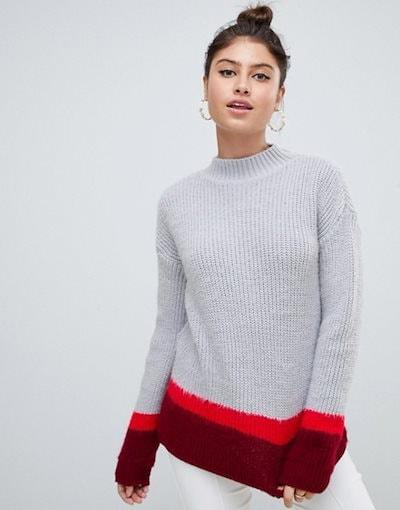 ミスガイデッド レディース ニット・セーター アウター Missguided color block high neck sweater in gray