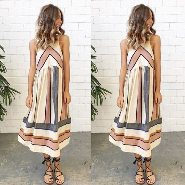 Women Summer Striped Boho Evening Party Long Maxi Beach Dress Cotton Vest Dress