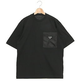 プラダ Tシャツ ジャージー リナイロン ナイロンポケット付 トライアングルロゴ ブラック メンズ PRADA UJN661 1YFH F0002 202 JERSEY REーNYLON NERO
