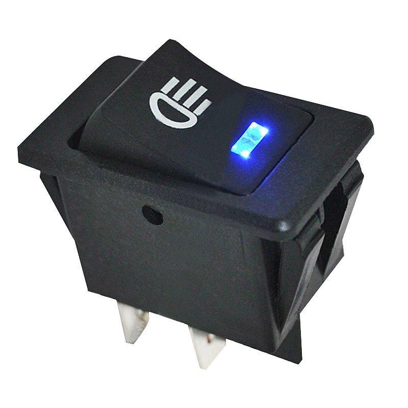 送料無料 フォグライト スイッチ ロッカースイッチ LED 自動車 汎用 12V 35A ダッシュボード 4ピン ブルーランプ