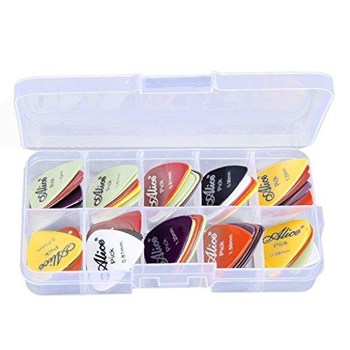 【国内発送・即納】 Yammy プラスチック製 24個 ベース ギター用のピック ピック 様々な厚さ カラフル 収納ボックス付