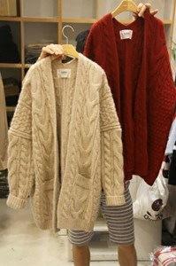 ニットカーディガン 羽織り アウター 厚手 柄編み ケーブル編み 長袖 ポケット セーター